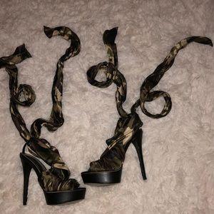 Bebe Camo Lace-up Heels
